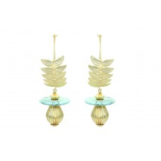 Fashion Designer Hoops Earrings Gold Plated Blue stone leaf design 3.6'