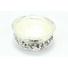 Handmade 925 Hallmarked Sterling SILVER Bowl hand engraving 115.0 Gr