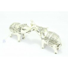 Handmade 925 STERLING SILVER Pair of ELEPHANTS Figures Home Decorative