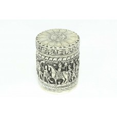 Handmade 925 Hallmarked Sterling SILVER Trinket box hand engraved Human figures