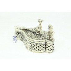 Hand Engraved Trinket Box chopda 925 Sterling SILVER Peacock Bird Figure 99 Gr