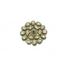 Fashion white Crystal Polki Bridal India jadau Ring Gold Plated with Green Stone