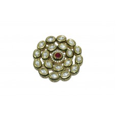 Fashion white Crystal Polki Bridal India jadau Ring Gold Plated with Red Stone