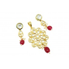 Fashion white Crystal red bead stone Bridal wedding Pendant set Gold Plated