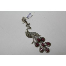 925 Sterling silver Pendant Marcasites Red Treated Gemstones Peacock Bird Figure