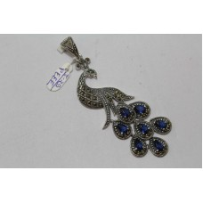 925 Sterling silver Pendant Marcasites Blue Treated Gemstone Peacock Bird Figure