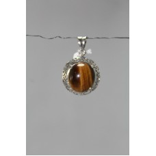 925 Sterling silver Pendant Stamped Natural Tiger Eye's Gemstone Filigree work