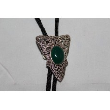 925 Sterling silver Marcasite Pendant with Green Onyx stone and Black Thread