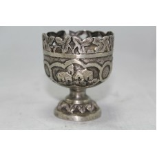 Antique Traditional Handmade Design Alloyed SILVER Small Engraved Goblet, Glass