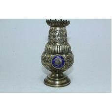 Traditional Antique Solid SILVER Flower Vase engraved design with enamel work