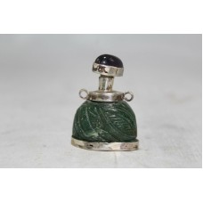 Asian antiques perfume /snuff bottle,Green Jade & silver. Amethyst cap
