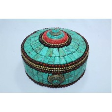 Tibetan Trinket Box with Semi precious Turquoise n coral stones and stone beads