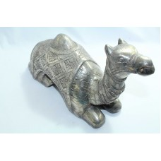 925 sterling Silver foil on wood , animal camel figure Home Decorative