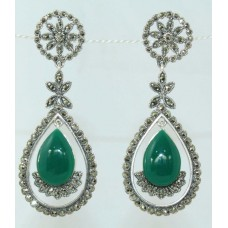 925 sterling silver earrings with Marcasite and Green onyx Gemstones 2.4 inch