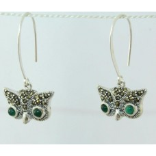 925 sterling silver earrings with Marcasite and Green onyx Owl Earring 1.5 inch
