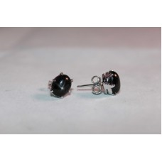 925 Sterling Silver Studs Earring with Natural Black Star Stones