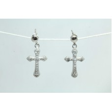 925 Sterling Silver Dangle Cross Earring white Zircon Stones 1.1 inch