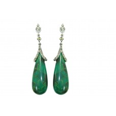 925 sterling long silver earring with marcasite and green stone 2.9 inch