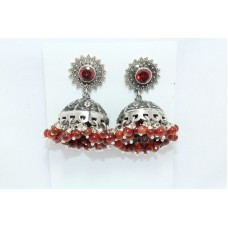925 sterling silver jhumki dangle earrings orange zircon bead stones