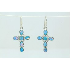 925 Sterling Silver Dangle Cross Earring synthetic opal Stones 1.9 inch