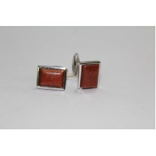 925 Hallmarked Sterling Silver Men's Cuff links, Real Golden Star Sandstone