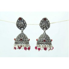 925 sterling silver Jhumki earring Tribal jewelry pearl and red Onyx Stone