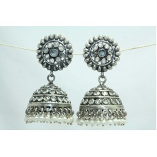 925 sterling silver jhumki earrings with pearl Beads uncut zircon stones 2.0'