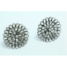 925 sterling silver studs earrings with uncut zircon stones flower design