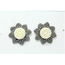 925 Sterling Silver Studs Earring camel bone flower design textured metal