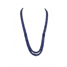 2 Line Natural Tanzanite Gemstone Beads String Necklace with certificate