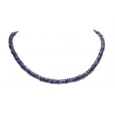 Beautiful Single Line Natural Purple Amethyst Beads Stones NECKLACE 18 inch