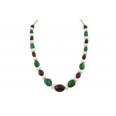 Beautiful 1 Line 366 CTS Green Beryl Red Ruby Pearls Beads NECKLACE
