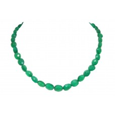 Beautiful Single Line Natural Green Onyx Beads Stones NECKLACE 17.5 inch