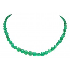 Beautiful Single Line Natural Green dark Onyx Beads Stones NECKLACE 19 inch