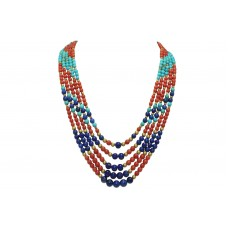 5 Lines Real Coral,Turquoise Lapiz Gemstone & Gold Beads String Women's Necklace
