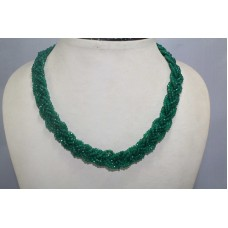6 Line Real Green Onyx Gemstone Diamond Cut Drop Beads String Necklace