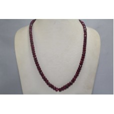 1 Line Real Ruby Gemstone Diamond Cut Beads String Necklace