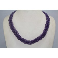 6 Line Real Purple Amethyst Gemstone Diamond Cut Drop Beads String Necklace