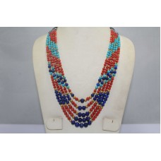 5 Lines Real Coral Turquoise & Lapis Gemstone Gold Beads String Women's Necklace