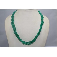 3 Line Real Green Onyx Gemstone Beads String Women's Necklace