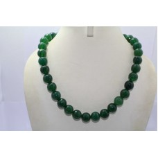 Beautiful Single Line Real Green Onyx Round Stone Big Bead NECKLACE