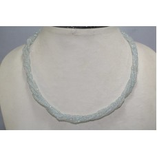5 Line Real Blue Aquamarine Gemstone Diamond Cut Drop Beads String Necklace
