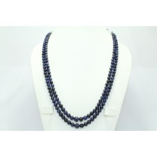 Blue Sapphire Round Beads glass filling Stones NECKLACE 2 lines 459 Carats