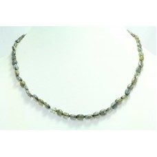 Beautiful Single Line Natural Labradorite Beads Stones NECKLACE 18.2 inch