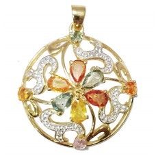 925 Sterling silver Pendant gold rhodium Natural Multi color Sapphire Gemstone