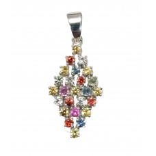 925 Sterling silver Pendant Stamped Natural Multi color Sapphire Gemstone