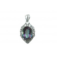 Handmade 925 Sterling Silver Pendant Mystique Quartz Gemstone with filigree work