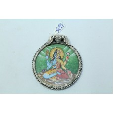 Tribal Temple Jewelry 925 Sterling Silver God Shiva Painting Pendant..
