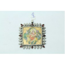 Tribal Temple Jewelry 925 Silver Goddess Durga Painting Pendant Garnet stones