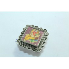 Tribal Temple Jewelery 925 silver God Ganesha Painting Ring Filigree work